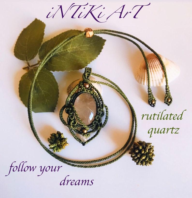 Rutiated Quartz macrame necklace,boho art,hippie necklace,healing macrame,gypsy accessory,trendy jewels,collar de macrame,regalo para ella