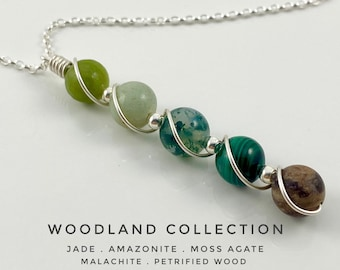 jade, Malachite, Petrified Wood, Moss Agate, Amazonite, necklace with Sterling silver, succulent necklace