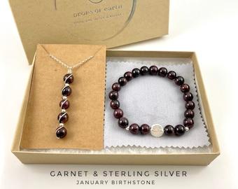 Garnet Necklace, Garnet Bracelet Sterling Silver, gift set, January birthstone, natural gemstone