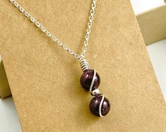 Tiny Garnet Pendant, Birthstone necklace, January Birthstone, Protection necklace