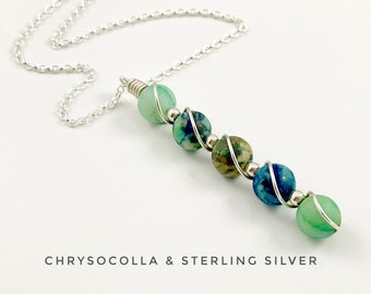 Abstract necklace, Chrysocolla and sterling silver necklace, blue green pendant
