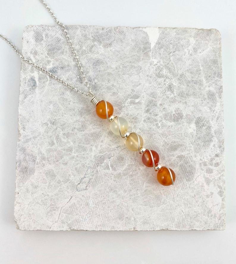 July Birthstone sterling silver Carnelian pendant necklace