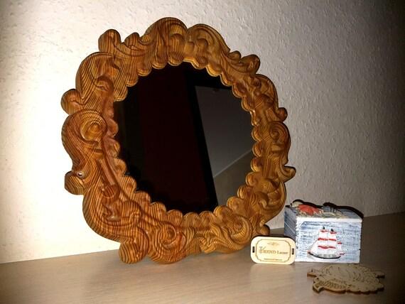 Vintage Mirror Round, Carved Wooden Round Mirror