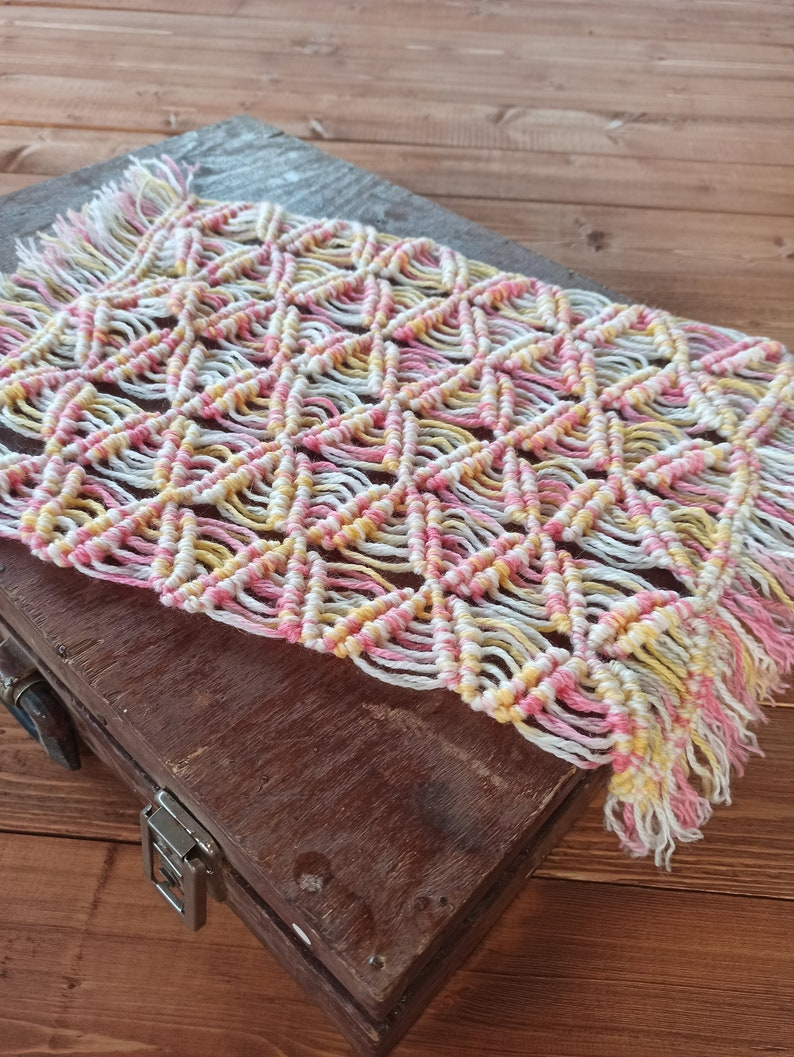 Newborn Rainbow Layer Rustic Macrame Baby Rug newborn macrame rug,newborn knit layer,newborn layer Newborn Macrame Blanket