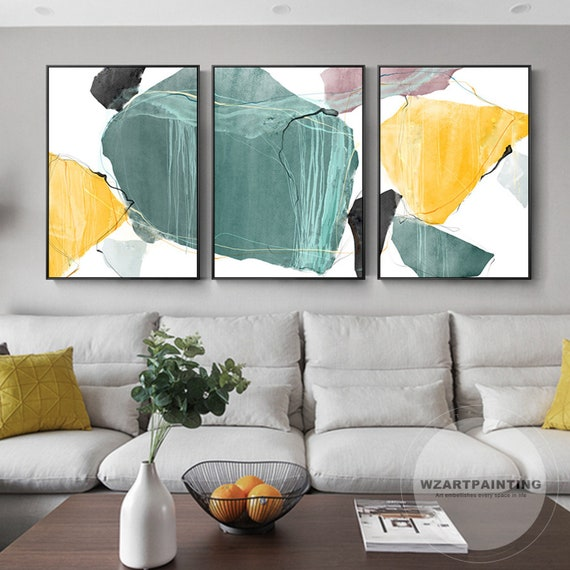 Astonishing Set Of 3 Modern Geometric Abstract Bright Yellow Blue Print Painting On Canvas Colorful Wall Art Quadro Picture For Living Room Home Decor Squirreltailoven Fun Painted Chair Ideas Images Squirreltailovenorg