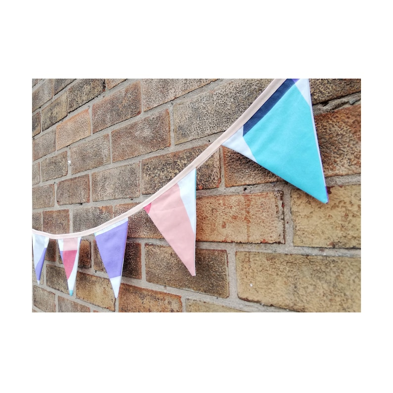 Bunting  Geometric Bunting  Peach  Home Decoration  Wall Decoration  Decor  Garland  Flags  Party Supplies  Reused  Recycled