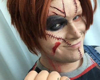 3 pieces unpainted Silicone Prosthetic set, chucky character
