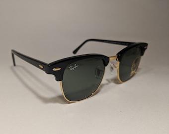 74c13fa6ee7b1 Vintage lunettes de soleil Ray-Ban Clubmaster RB 3016 noir et or