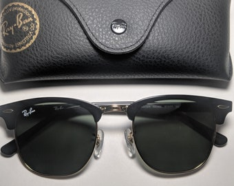 e6ed5d78de6a Vintage Ray-Ban Clubmaster Sunglasses RB 3016 Black and Gold