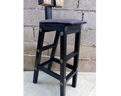 Bar Stool with the Backrest Wooden Chair Stool Decorating with Metal Bolts Rattan Loft Style Chair