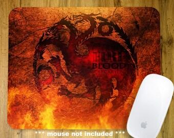 Daenerys Targaryen Game of Thrones Watercolor Mousepad Mouse Pad Art Print Decor Drogon and Dani GOT Gift
