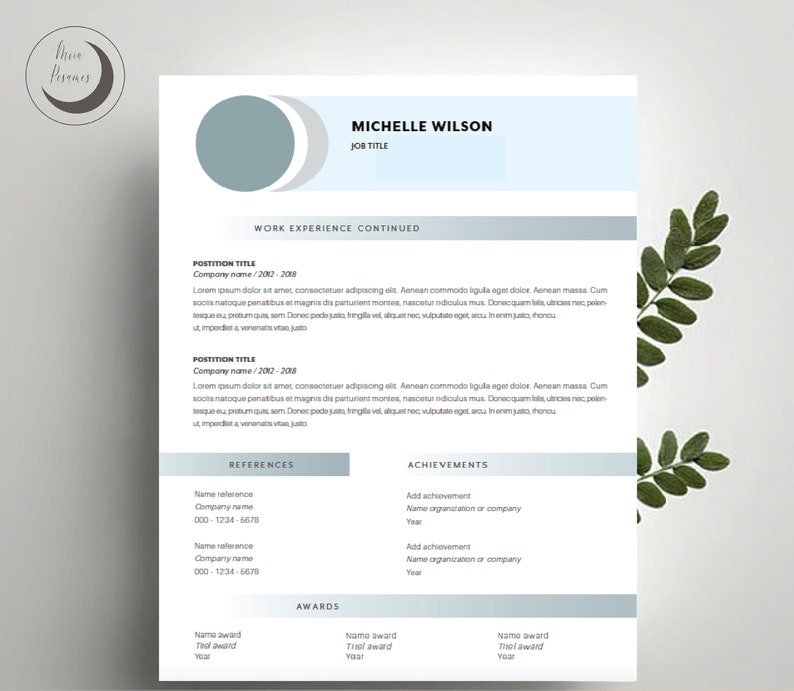 ResumeCV Template Clean Modern Template Conservative /'Michelle/' Instant Digital Download Cover Letter