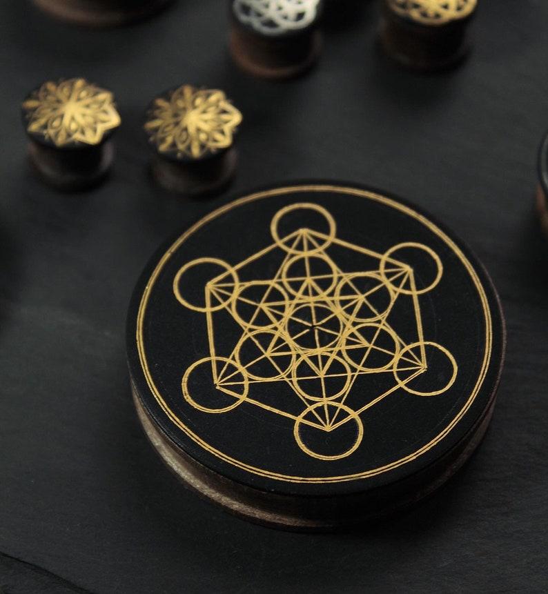 Plugs sacred geometry Metatr\u00f3n plugs plugs wood Plugs pure gold plugs handmade  Plugs premium