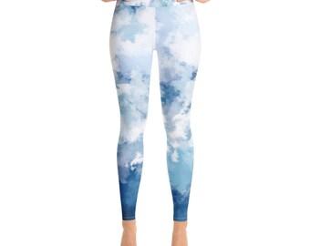 f664db553 Yoga Leggings Workout Running leggings Lounge High Waist  Blue watercolor