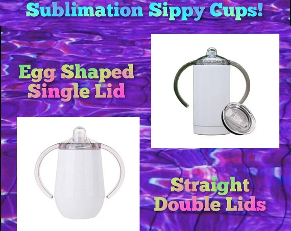 Sublimation Sippy Cup Tumbler Single Lid Round or Double Lid Straight (12oz Insulated)