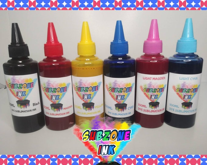 SubZone Ink 6 Color Dye Sublimation Ink for Epson Printers(CMYK+LC,LM)