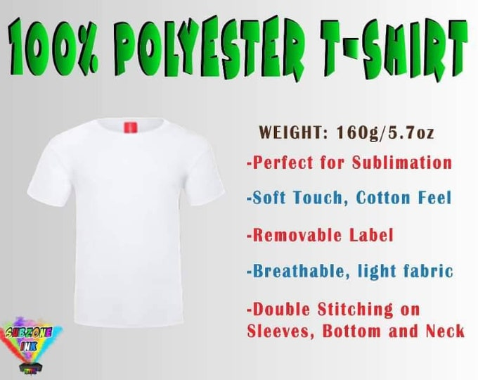 Sublimation T-Shirt (100% Polyester White) Adult Uni-Sex