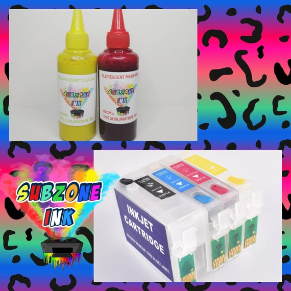 SubZone FLORESCENT Dye Sublimation Ink with 252xl Cartridge Combo
