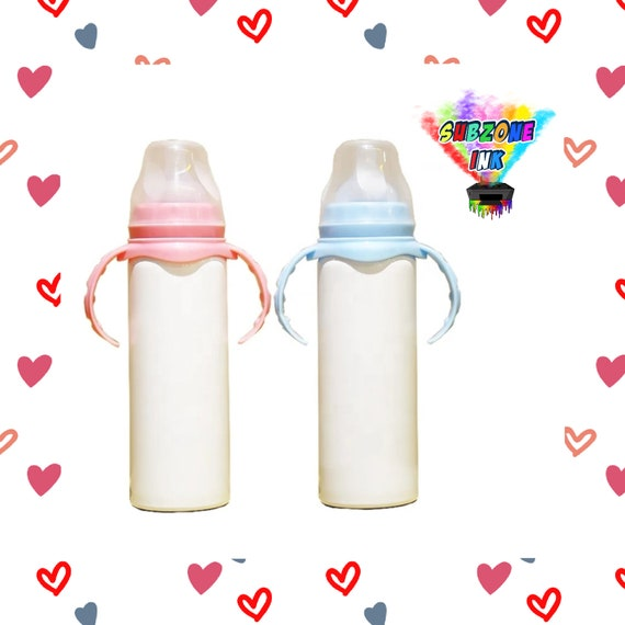 8oz Sublimation Baby Bottle/Stainless Steel Tumbler (Pink or Light Blue Handle)