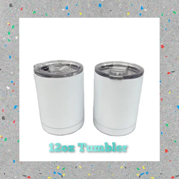 12oz Sublimation Tumbler (Lowball, No Handle, Straight) with reusable Straw