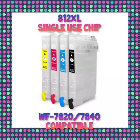 812XL Refillable Cartridges w/ Single Use Chip for Epson WF-7820 WF 7840