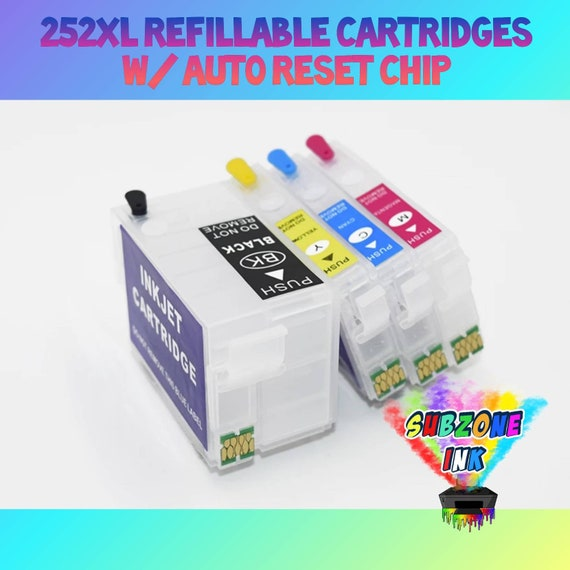 252XL Refillable Cartridges with Auto Reset Chip for Epson Workforce Printers (Empty)