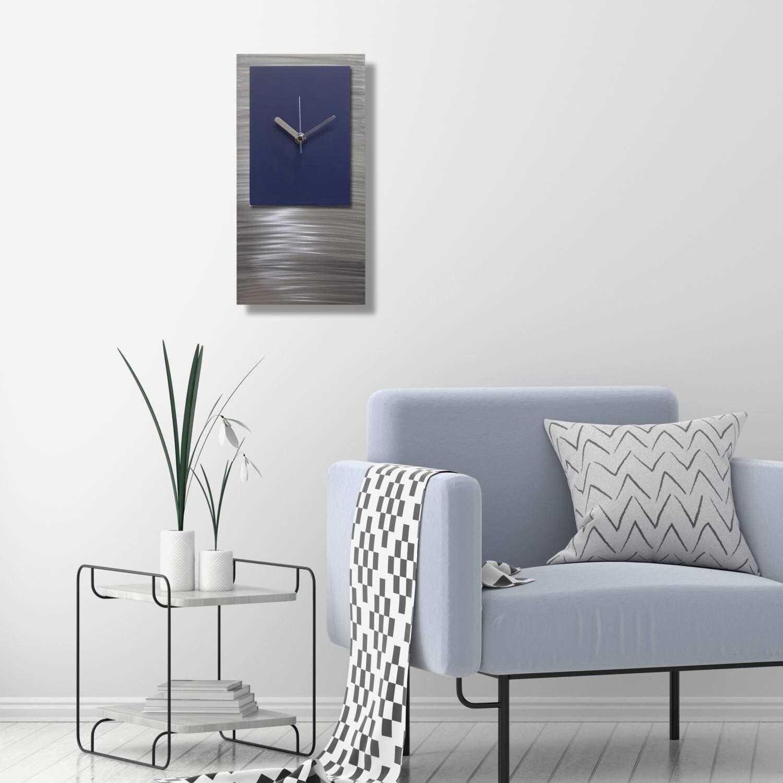 Blue Wall Clock Silver Navy Modern Art Metal Abstract Home Decor Unique Hanging Sculpture Sapphire Salute