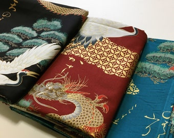 By the half meter Japanese Fabric Crane Dragon cotton Asian  black blue red