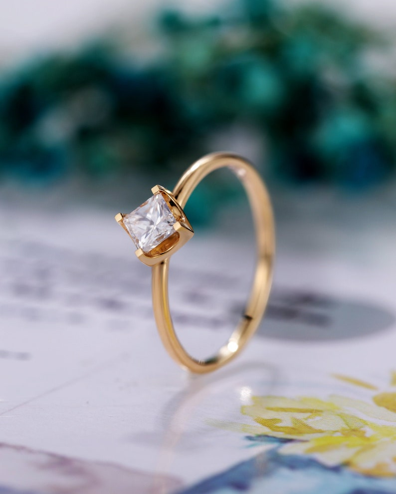 wedding jewelry,Anniversary gifts for women Princess cut engagement ring,GIA Natural Diamond yellow gold,antique vintage art deco ring