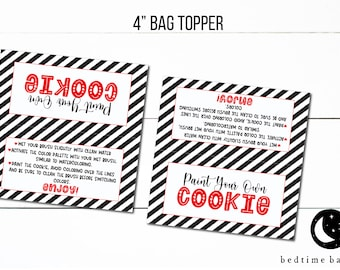 Printable 4 Happy Valentine/'s Day PYO Cookie Treat Bag Topper Printable Paint Your Own Cookie  Goodie Bag Topper