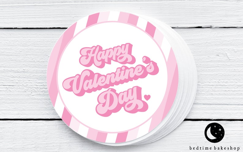 2 Valentine/'s Day Gift Tag Printable Valentine/'s Day Cookie Tag Happy Valentine/'s Day Retro Cookie Tags Love Tag Goodie tag