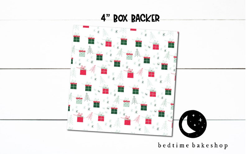 Printable 4x4 Cookie Box Packaging Background Christmas Merry and Bright Winter Cookie Box backer Printable X-Mas Cookie Tag Cookies