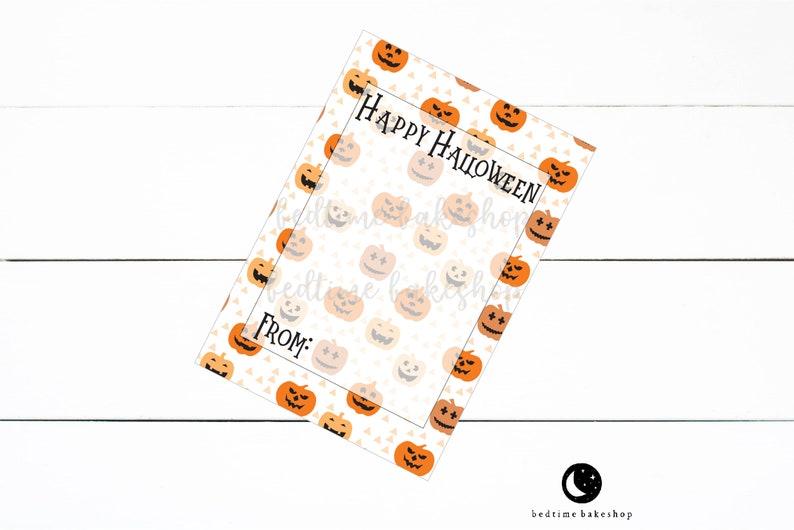 Printable Happy Halloween Cookie Card Pumpkins Cookies Halloween Printable Fall Cookie Tag 3.5 x 5 Mini Cookie Card