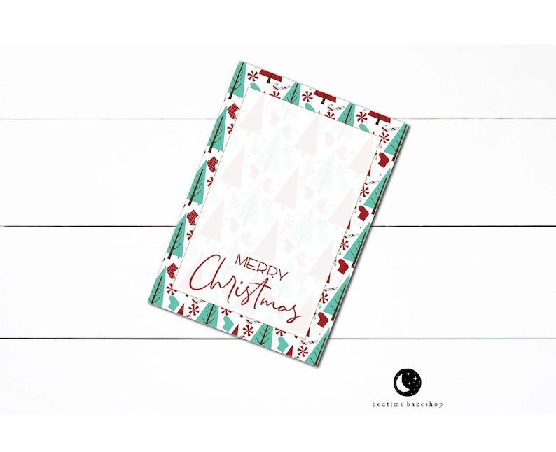 Printable Christmas Red Teal Trees 3.5 x 5 Mini Cookie Card Christmas Printable Cookie Cards Christmas Cookies Holiday Cookie Tag