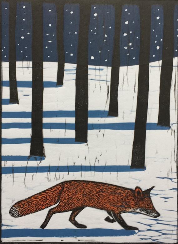 Limited edition handmade Linocut print. Winter Fox