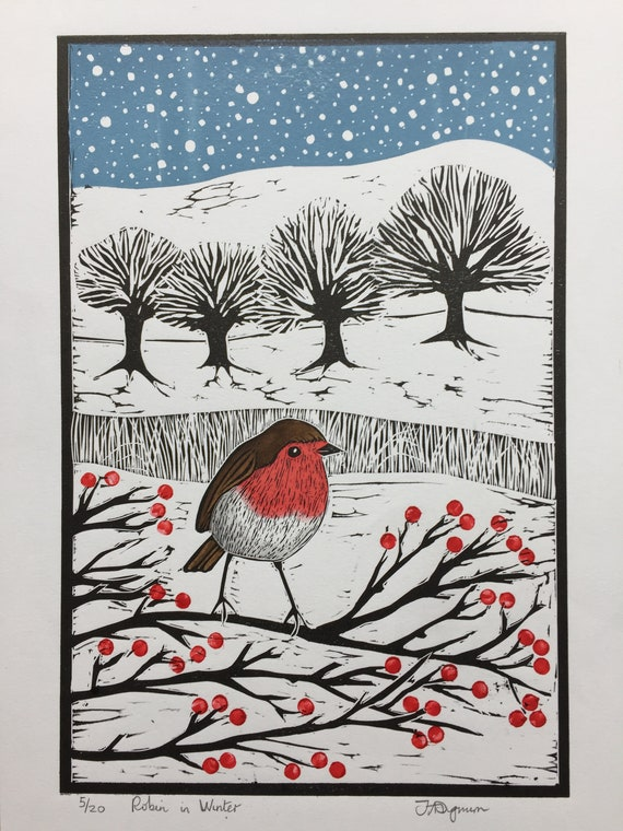 Limited edition handmade Linocut print. Robin in the Winter