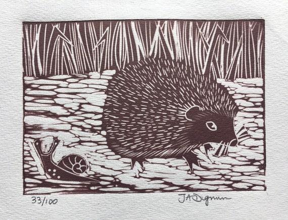 Limited edition handmade Linocut print. Hedgehog and Snail