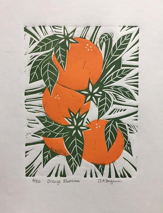 Limited edition handmade Linocut print.Orange Blossom.