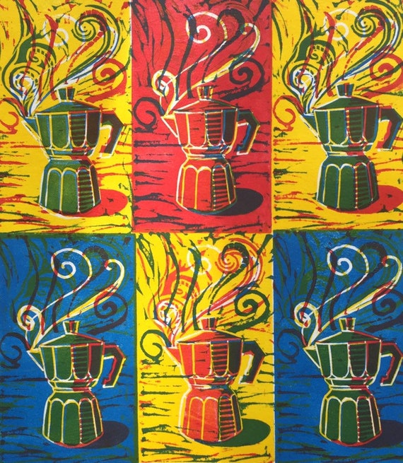 Limited Edition Handmade Linocut print. Time for an Espresso.