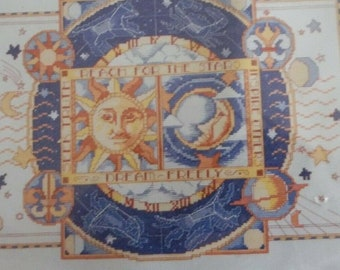 Sun face man in the Moon stars blue CROSS STITCH craft picture KIT new