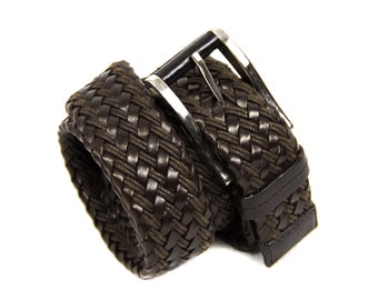 00b41f372fa6ae Prada Woven Brown Leather Belt, Size 36