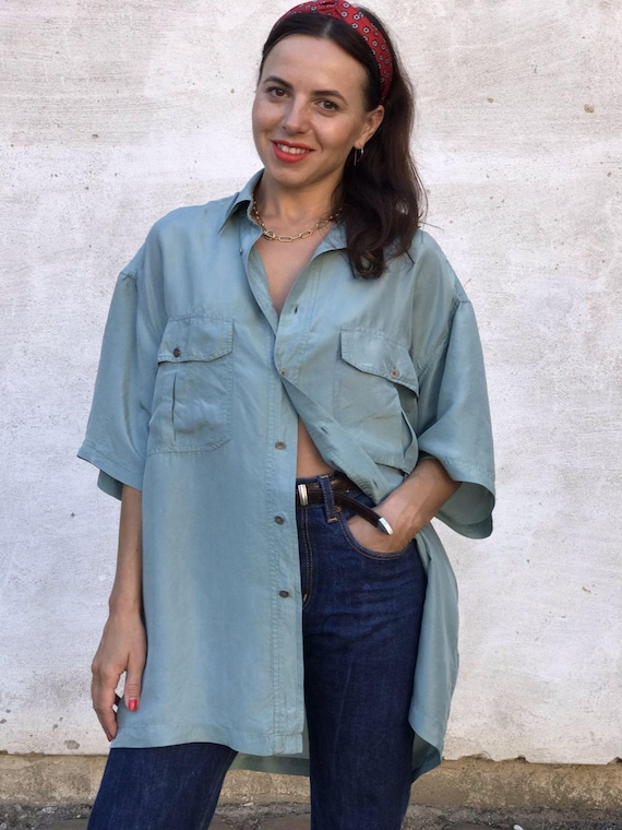 Vintage 100% Silk Teal Blue Summer Shirt, SIZE XXL