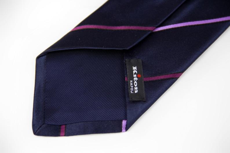 Kiton Napoli Navy Purple Pink Woven Silk Tie