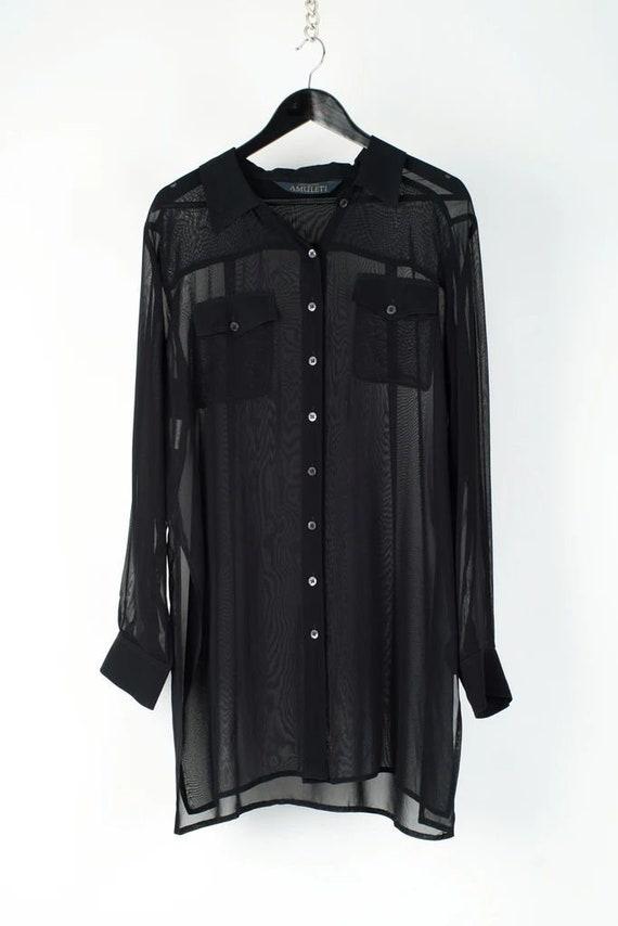 One Size Vintage 1980s oversized black sheer sequined embelished flutter top