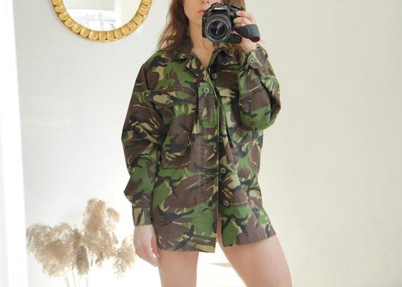 Camouflage Combat Military Shirt Jacket, Size M