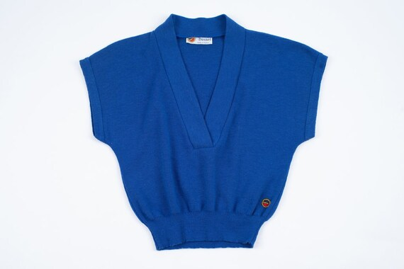 Vintage Busnel Women's Blue Wool French Vest, SIZE