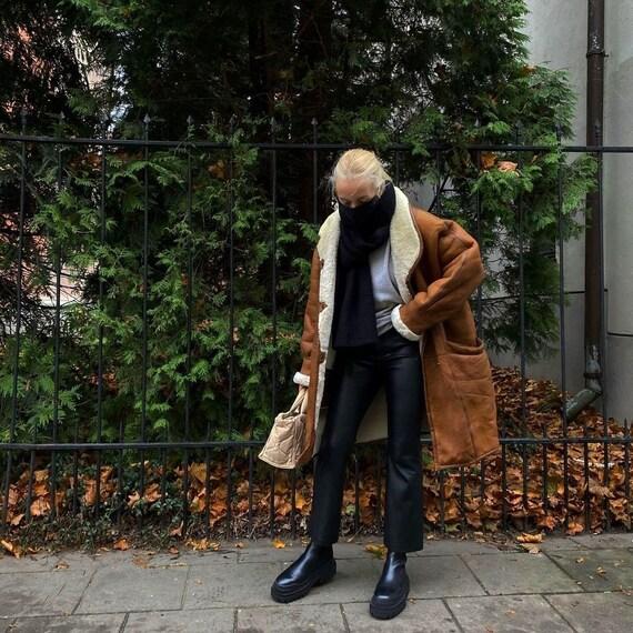 Goldstein Woman's Brown Oversized Cocoon Sheepskin