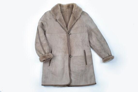 Women's Light Brown Sheepskin Shearling Coat, Size