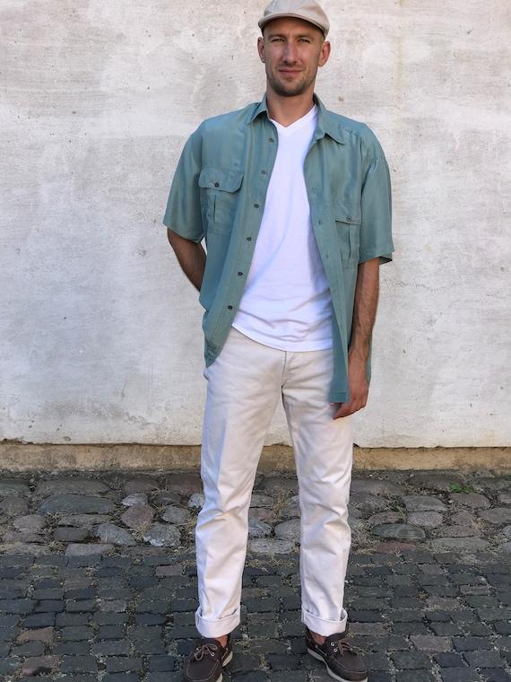 Vintage Men's 100% Silk Teal Blue Summer Shirt, SI