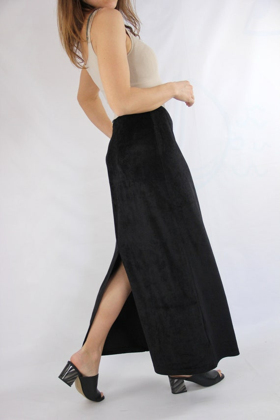 FENDI Maxi Velour Vintage Skirt in Chocolate Brown
